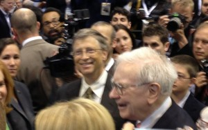 Warren Buffett and Bill Gates at the exhibition prior to the shareholders meeting.